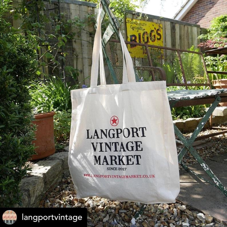 Langport Vintage Tote Bag in the garden