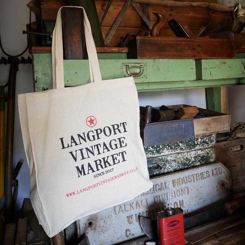 Langport Vintage Tote Bag in the shed